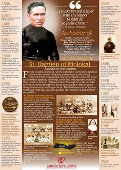 St Damien of Molokai Infographic Bible Prayers, Catholic Prayers, Catholic Saints, Roman Catholic, St Damien, Personal Prayer, Catholic Quotes, Saint Quotes, Prayer Cards