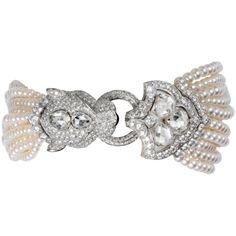 PANTHER HEAD DECOR WATCH Quartz, white gold, diamonds, pearls   l Cartier