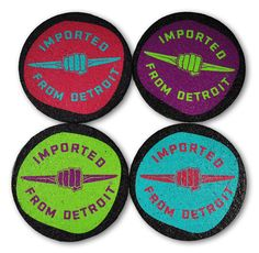 What better way to show your Detroit love than with this set of 4 coasters featuring the Imported From Detroit logo on a pop art inspired backdrop. Made from 100% recycled car tire in the USA.