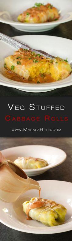 Vegetarian Stuffed Cabbage Rolls Recipe - Healthier German Stuffed Cabbage Rolls www.MasalaHerb.com german cuisine