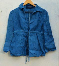 Indigo shirt womens linen top hand dyed by EthicalLifeStore, £32.00
