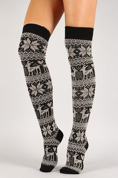 Holiday Print Thigh High Socks