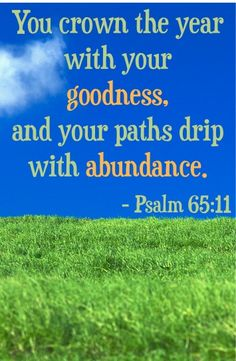 You crown the year with your goodness, and your paths drip with abundance.  ~ Psalm 65:11 #bibleverses