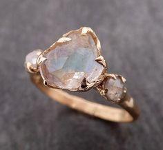 Morganite Engagement, Rose Gold Engagement Ring, Diamond Wedding Rings, Vintage Engagement Rings, Vintage Rings, Raw Stone Engagement Rings, Gold Wedding, Diamond Rings, Wedding Bands