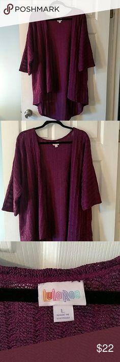 NWOT LuLaRoe Lindsay Kimono  Cover Up Beautiful purple light weight sweater material with criss cross design. Never worn. LuLaRoe Sweaters Shrugs & Ponchos