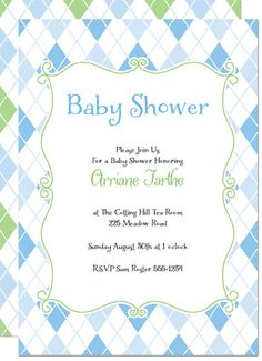 136 best diy baby shower invitations images on pinterest printable argyle pattern printable baby shower invitations template and arty kit print and make your own baby boy shower invitations in a cute blue and green argyle filmwisefo