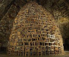 Chair installation by Japanese artist Tadashi Kawamata