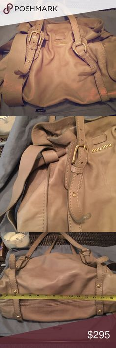 Miu miu authentic olive/tan bag Cute preloved miu miu bag! Authentic with tags and Lampo zippers. Bag does have wear but still lots of life! Tried to take pics but slight discoloration on exterior, small areas of leather cracking on the sides too. Olive/tan colored leather bag. Pretty spacious medium/large sized bag! First picture has a posh filter last three do not have any. Miu Miu Bags Shoulder Bags