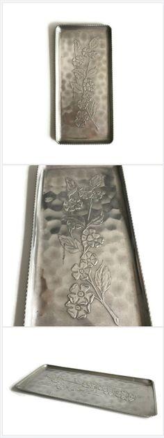 Hammered Aluminum Bathroom Tray with Floral Motif 87b1b287f9c5f