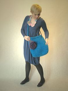 big bag with flower brooch