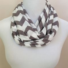 NO. 1 Infinity Scarf Gray & White Chevron by oneforonecreations, $15.00