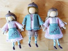 spring blossom bendy doll felt wee folk family
