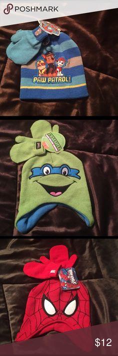 Boy's winter hats Paw patrol, Spider-Man, and ninja turtles Accessories Hats