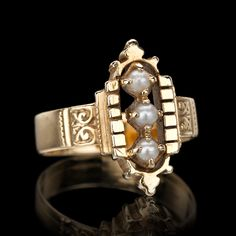 Antique 3-Pearl Ring