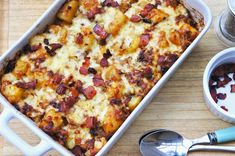 Baked potato dish, includes onions, garlic and bacon. Sounds like a delicious dish to serve as a potato option at dinner.