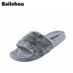 4a2d739834067 Bailehou New Fashion Footwear Women Flat Slippers Soft Fur Slip Slides  Indoor Outdoor Slippers Casual Flat Platform Shoes Black