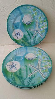 Coastal Cottage Beach Melamine Dinner Plates Set of 6 Aqua Sea Life  #NantucketHome