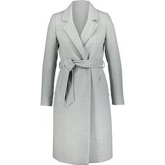Light Grey Double Breasted Overcoat Long Wool Coat, Tk Maxx, Padded Jacket, Outdoor Outfit, Msgm, Max Mara, Double Breasted, Wrap Dress, Dresses For Work