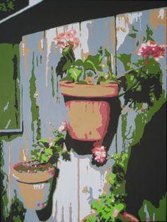 """""""Géraniums sur la porte"""" 60 cm x 80 cm - Acrylique sur toile not for sale"""