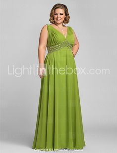 TS Couture® Prom / Formal Evening / Military Ball Dress - Elegant Plus Size / Petite A-line V-neck Floor-length Chiffon with Beading / Crystal 2017 - $99.99