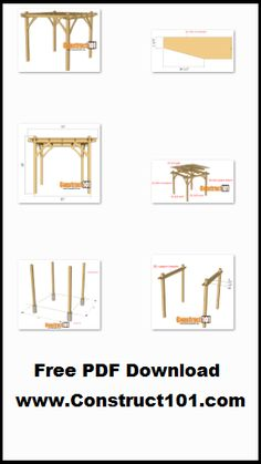 Plans for a 10×10 pergola, includes free PDF download, drawings, shopping list, and cutting list.