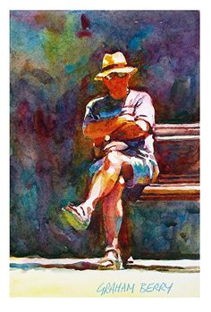 "The spectator by Graham Berry Watercolor ~ 12"" x 8"""