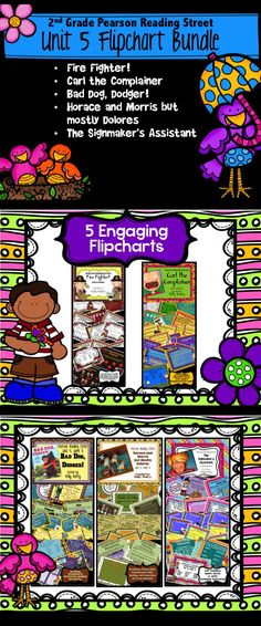 2nd Grade Pearson Reading Street Unit 5 Bundle - If the 2nd Grade Pearson Reading Street series guides your reading lessons, these engaging flipcharts are a great tool to use to introduce your 2nd graders to the weekly skills for each story in Unit 5.  Click here to discover a fun and engaging way to introduce your kids to their weekly vocabulary words, spelling words, grammar skills, and comprehension skills, and reading strategies.