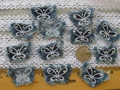 Lot of craft sewing bow applique sequin beaded set of 7 white