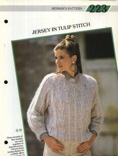 223 Creative Knitting Woman's Pattern 223 : Mohair Jersey in Tulip Stitch Pamphlet – 1986 Creative Knitting, Tulip, Men Sweater, Turtle Neck, Stitch, Pattern, Sweaters, Women, Fashion
