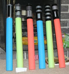 pool noodle lightsabers! With duct tape of course. Simply awesome.