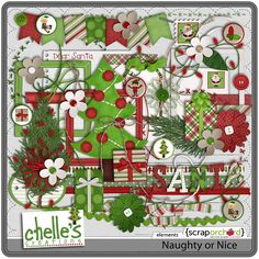 """Naughty or Nice Elements    """"He knows if you've been naughty or nice."""" Cherish your precious holiday memories with Naughty or Nice by Chelle's Creations. It's is the perfect compliment your Letters to Santa, photos with him and his elves, or his little helper who comes to visit in December.  """"So be good for goodness sake!""""     Don't miss the coordinating Naughty or Nice products:  Elves, Papers, & Alpha"""