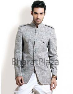 Graceful Grey Hunting Coat Item code : SJB5007  http://www.bharatplaza.com/graceful-grey-hunting-coat.html