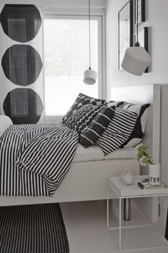 Black and white bedroom, Marimekko design, Innolux Pasila lamp, Hay Tray table Monochrome Bedroom, White Bedroom, Dream Bedroom, Master Bedroom, Bedroom Decor, Marimekko, Stylish Bedroom, Scandinavian Home, Interior Exterior