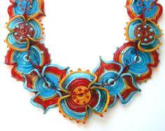 Latino queen Nine flowers necklace Lampwork glass bead hand made by YasminSivan