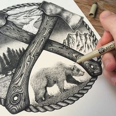 #TBT process shot from my Stay Wild drawing. The limited edition print is sold out but I'll be bringing it back in a different form in time for Christmas! Keep ya eyes peeled. by lloydstratton