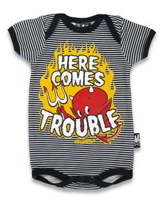 Kids Here Comes Trouble, Devil onesie (romper) $19.95 - check our page for availability  https://www.facebook.com/photo.php?fbid=155187214664548=a.155181271331809.1073741831.145192242330712=3