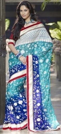 Beautiful Blue Party Wear Printed Red Border Work Designer Saree/Sari ETHNIC EHS #SareeStudio