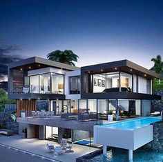 ⚜️ Exquisite Estate with multi-level floors, open concept and pool off main living quarters. 👉🏼Comment for more luxury content _________________ 📷 Dream Home Design, Modern House Design, Modern Architecture House, Architecture Design, Beautiful Modern Homes, Luxury Homes Dream Houses, Dream Homes, Dream Mansion, Modern Mansion