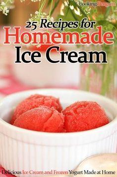 25 Recipes for Homemade Ice Cream: Delicious Ice Cream and Frozen Yogurt Ice Cream Desserts, Frozen Desserts, Summer Desserts, Ice Cream Recipes, Frozen Treats, Yogurt Ice Cream, Yummy Ice Cream, Homemade Ice Cream, Kitchen Aid Ice Cream