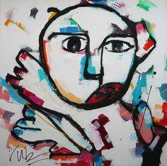 Dit moderne schilderij is een abstracte weergave van een keeper. Met losse lijnen is het figuur opgemaakt en ingevuld met een veelvoud aan kleur. Het schilderij is gemaakt met acrylverf en spray paint.