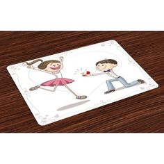 Engagement Party Placemats Set of 4 Celebration Cartoon of Lovely Romantic Couple with Wedding Ring, Washable Fabric Place Mats for Dining Room Kitchen Table Decor,Pink Blue and White, by Ambesonne Romantic Couples, Romantic Weddings, Room Kitchen, Dining Room, Pink Blue, Blue And White, Place Mats, Wedding Ring, Celebration