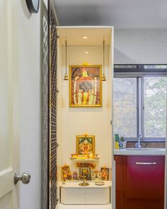 This pooja corner makes clever usage of corner space to create a lovely segment just for your spiritual moments. Tell us what… This pooja corner makes clever usage of corner space to create a lovely segment just for your spiritual moments. Kitchen Room Design, Home Room Design, Home Decor Kitchen, Living Room Partition, Room Partition Designs, Apartment Interior Design, Room Interior, Temple Design For Home, Pooja Room Door Design