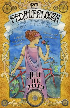 Poster for Port Townsend's first annual Pedalpalooza. Poster hand-painted by Fruition Design. www.fruition-design.com Vintage Advertising Posters, Vintage Advertisements, Vintage Posters, Bicycle Pictures, Bike Events, Bike Drawing, Port Townsend, Bike Poster, Bike Art