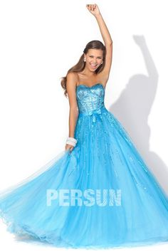 A-line Strapless Sweetheart Sequin Bow Prom Dress