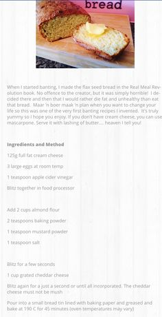 Banting cheesy bread Banting Recipes, Low Carb Recipes, Healthy Recipes, Banting Breakfast, Banting Bread, Recipe Ideas, Great Recipes, Zone Diet, Seed Bread