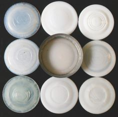 Group of Milk Glass liners with various markings Antique Glass Bottles, Glass Milk Bottles, Glass Jars With Lids, Antique Glassware, Bottles And Jars, Milk Glass, Ball Canning Jars, Ball Mason Jars, Mason Jar Lids