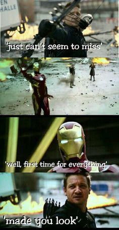 One of the best scenes in Civil War. I love Hawkeye!!