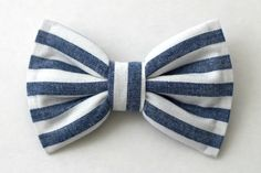Boys Bow Tie Denim Chambray White Stripe by lollyludesigns