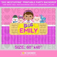 DOC MCSTUFFINS Party Backdrop - Personalized - Digital - Printable - Dessert Table Backdrop - Photo Background