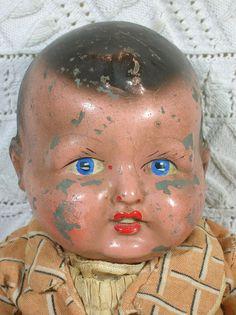 English Pot Head Baby Doll, c WW2 era, Composite, Composition. Creepy